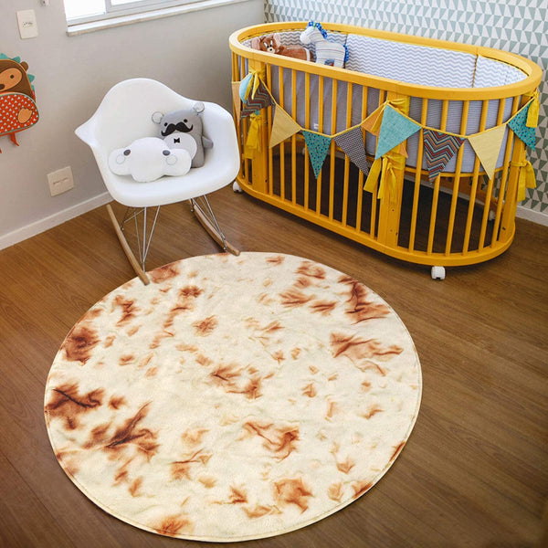 HAOCOO Burritos Kids Play Mat 3' Diameter Round Area Rugs Non-Slip Baby Crawling Mat Novelty Tortilla Food Throw Floor Rug Carpet for Nursery Bedroom Living Room Shower Gift Home Decor