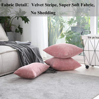 Home Brilliant Striped Corduroy Oblong Throw Pillowcase Cushion Cover for Lumbar, (12x20 inches) 30cm x 50cm, Baby Pink