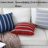 Home Brilliant Spring Decoration Outdoor Stripes Large Accent Pillows Cushion Covers Rustic Euso Sham for Garden Sofa Bed Boy's Room, 2 Packs, 24 x 24 Inch (60x60cm), Navy Blue