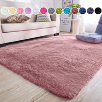 junovo Rectangle Ultra Soft Area Rugs Fluffy Carpets for Bedroom Living Room Shaggy Floor Rug Home Decor Mats, 4 x 5.3ft, Grey-Purple