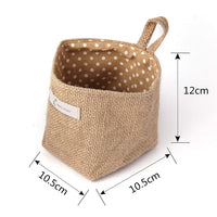 Sansheng 4PCS Wall-Hanging Storage Bags Hanging Storage Bags Cotton Linen Storage Basket Foldable Wall-Hanging Basket Family Organizer Box Decorative Bag (Color as Shown)
