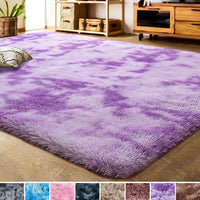 LOCHAS Luxury Velvet Shag Area Rug Modern Indoor Fluffy Rugs, Extra Comfy and Soft Carpet, Abstract Accent Rugs for Bedroom Living Room Dorm Home Girls Kids, 4x6 Feet Pink/White