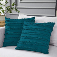 Longhui bedding Teal Throw Pillow Covers for Couch Sofa Bed, Cotton Linen Decorative Pillows Cushion Covers, 18 x 18 inches, Set of 2