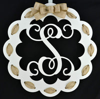 Letter S - Monogrammed Door Hanger | Mom Gift | White and Burlap Everyday Year Letter Door Hanger