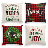 AVOIN Merry Christmas Saying Throw Pillow Cover Boxwood Wreath, 18 x 18 Inch Winter Holiday Buffalo Plaid Linen Cushion Case for Sofa Couch Set of 4