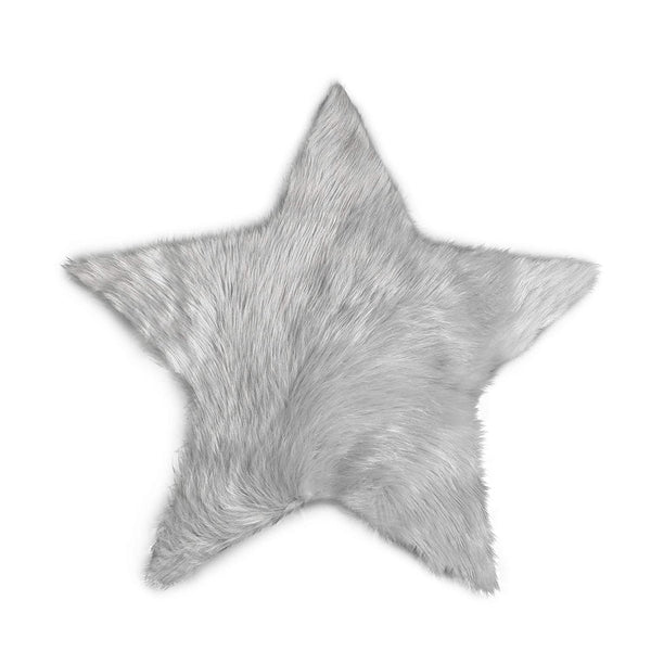 Machine Washable Faux Sheepskin Light Grey Star Rug 2' x 2' - Soft and Silky - Perfect for Baby's Room, Nursery, playroom - Fake Fur Area Rug (Star Small Light Grey)
