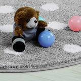 LIVEBOX Polka Dots Round Area Rugs, 3ft Diameter Kids Play Mat Soft Plush Baby Crawling Mat Non-Slip Throw Carpet for Teen Girl Living Room Bedroom Playroom Nursery Decor Best Shower Gift(Gray)