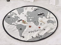 GABWE World Map Rug Round Kids Crawling Mats Child Activity Round Carpet(Diameter 53 inches)