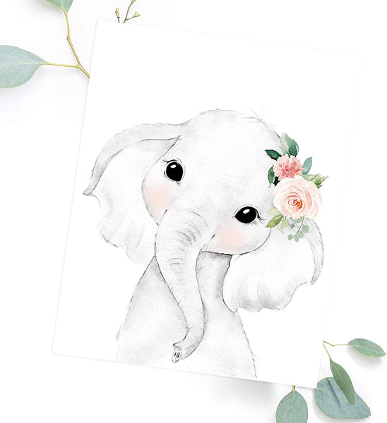 Adoren Studio Nursery Wall Art for Baby Girl - Baby Safari Animal Floral Art Prints - Blush Nursery Decor - Baby Girl Wall Decor