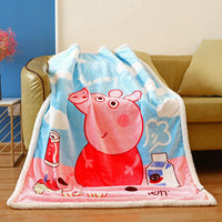 FairyShe Kids Throw Blanket Cartoon Fleece Blanket,Soft Warm Plush Sherpa Blanket For Baby,Coral Velvet Fuzzy Blanket For Bed Couch Chair Baby Crib Living Room (Peppa pig)
