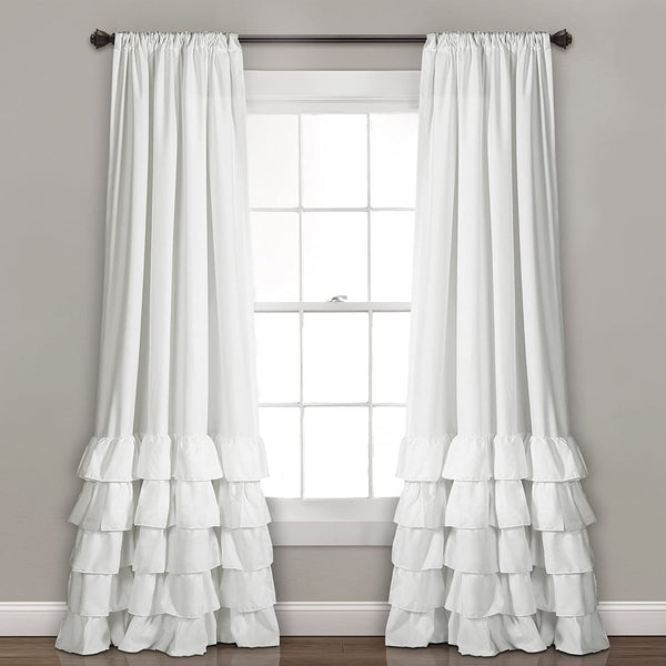 "Lush Decor, White Allison Ruffle Curtains-Window Panel Drapes Set for Living, Dining Room, Bedroom (Pair), 84"" x 40"", 84"" L"