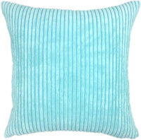 YOUR SMILE Solid Color Decorative Accent Pillow Covers Case Striped Corduroy Plush Velvet Cushion Cover for Couch, Set of 2, Baby Blue,18x18 inch
