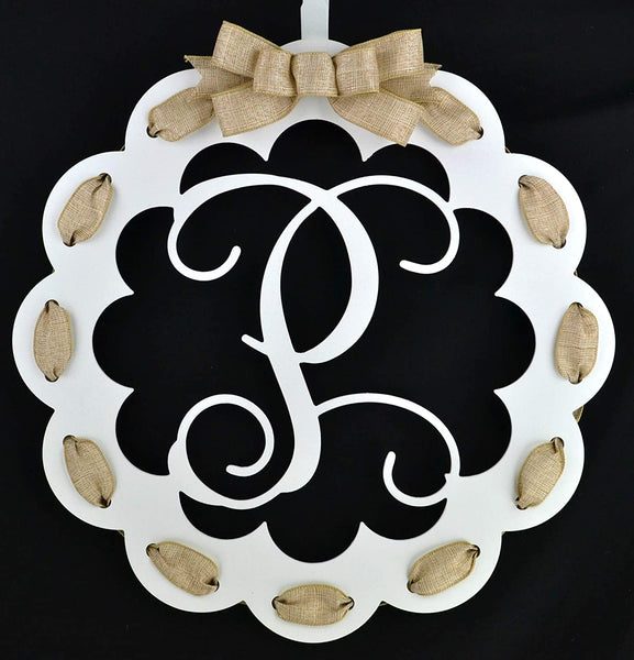 Letter P - Monogrammed Door Hanger | Mom Gift | White and Burlap Everyday Year Letter Door Hanger