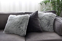 Uhomy 2 Packs Home Decorative Luxury Series Super Soft Faux Fur Throw Pillow Cover Cushion Case for Sofa or Bed Gray Ombre 18x18 Inch 45x45 cm