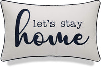 "YugTex Pillowcases Lumbar Home Pillow Farmhouse Pillows Let's Stay Home Embroidered Pillow Cottage Decor Apartment Decor Wedding Gift Housewarming Gift Sofa Pillow (Lets Home(Ivory), 12""x20"")"