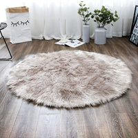 LEEVAN Super Soft Bedroom Round Rug Faux Fur Wool Oval Carpet Fluffy Shaggy Kids Play Mat Girls Runner Area Rug for Sofa Floor or Living Room Accent Home Decorate(Pink,3ft x 5ft)