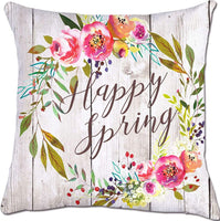 Munzong Set of 2 Colorful Rustic Flower Throw Pillow Covers 18 x 18 Inch, Hello Spring Wreath Decorative Pillowcases, Cotton Linen Outdoor Square Cushion Cover for Sofa Home Decor Housewarming Gift
