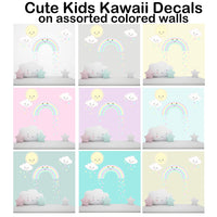 Cute Kawaii Baby Nursery Wall Decals Decor Smiley Rainbow Sun Clouds Kids Room Pastel Pink Girls Wall Stickers, Vinyl Art for Bedroom, Peel n' Stick Children's Decoration, Toddler Playroom Gift