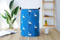 "19.7"" Large Sized Waterproof Coating Ramie Cotton Fabric Folding Laundry Hamper Bucket Cylindric Burlap Canvas Storage Basket with Stylish Cactus Design"