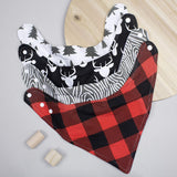 Stadela 100% Cotton Baby Bandana Drool Bibs for Drooling and Teething Nursery Burp Cloths 4 Pack Baby Shower Gift Set for Boys – Lumberjack Deer Animal Woodland Forest Wood Trees Buffalo Plaid