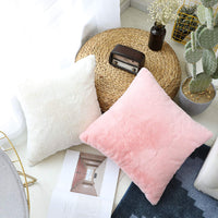 Home Brilliant Plush Deluxe Fluffy Sheepskin Faux Fur Suede Throw Pillow Cover Supersoft Euro Sham Case for Baby, Pillow Not Included, 1 Pc, 26 x 26 inches, Pink