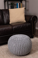 BIRDROCK HOME Round Pouf Foot Stool Ottoman - Knit Bean Bag Floor Chair - Cotton Braided Cord - Great for The Living Room, Bedroom and Kids Room - Small Furniture (Light Grey)