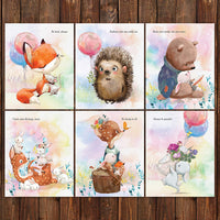 Pillow and Toast Woodland Baby Nursery Wall Decor Newborn Wall Art Prints 8x10 inches