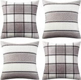 "AmHoo Pack of 4 Farmhouse Classic Throw Pillow Covers Square Cushion Cover Plaid Stripe Checker Decoration Euro Pillowcase Set with Hidden Zipper Beige,18"" x 18"""
