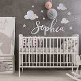 Custom Name Sign for Nursery Decor - Comes with - 24 inches Name, Clouds and Stars - Wooden Name Letters for Baby Room Decor for Wall |18 Colors & 4 Fonts | Above a Crib Baby Gifts for Boy, Girls