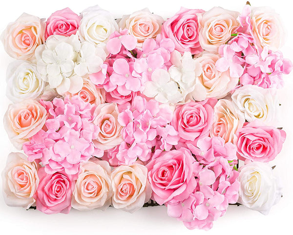 Silk Flowers Wall Panel Handmade, Wall Backdrop for Wedding, Bridal Shower, Party, Wall Art Decor, Baby Girls Room, Nursery Decals (Rose and Hydrangea Artificial Silk Flowers)
