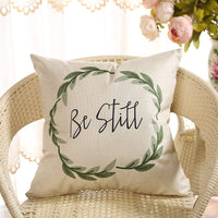 Fahrendom Rustic Be Still Green Olive Wreath Vintage Farmhouse Décor Spring Summer Sign Decoration Cotton Linen Home Decorative Throw Pillow Case Cushion Cover with Words for Sofa Couch, 18 x 18 in