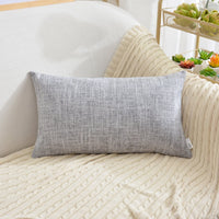 "NATUS WEAVER Soft Linen Blended Burlap Lumbar Throw Pillow Covers Accent Cushion Cover Pillowcase for Sofa Bedroom Car, 12"" x 20"", Sesame Grey"