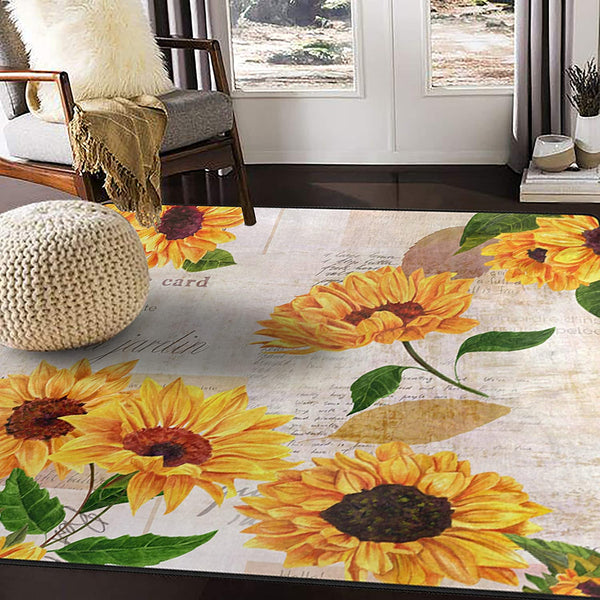 "ALAZA Vintage Sunflower Butterfly Watercolor Area Rug for Living Room Bedroom 5'3""x4'"