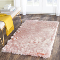 Safavieh Faux Sheep Skin Collection FSS235G Pink Area Rug, 2' x 3'