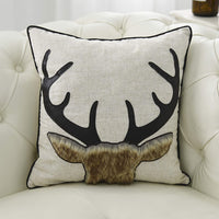 Little Funny Cotton Linen Deer Pillow Covers Decorative Deer Pillow Case Animal Cushion Cover with Faux Leather Antlers and Fur Applique for Sofa Bed Couch18x18 Inch Beige