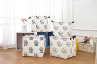 LANGYASHAN Square Storage Bins Waterproof Canvas Kids Laundry/Nursery Boxes for Shelves/Gift Baskets/Toy Organizer/Baby Room Decor(Lion)