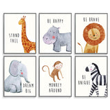Safari Baby Animals, Baby Nursery Decor, Baby Room Decor, Playroom Wall Art Decor Prints, Boys & Girls Room, Kids Bedroom Inspirational Quotes, Motivational Art, Inspirational Art. Set of 6 8x10in.