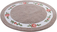 JSJ_CHENG Round Soft Cute Rose Floral Microfiber Area Rugs for Bedroom, Bathroom, Dining Room, Living Room, Kids Room, Teens Girls Room, Boys Room, Dorm Room (35.4-inch Diameter, Pink)