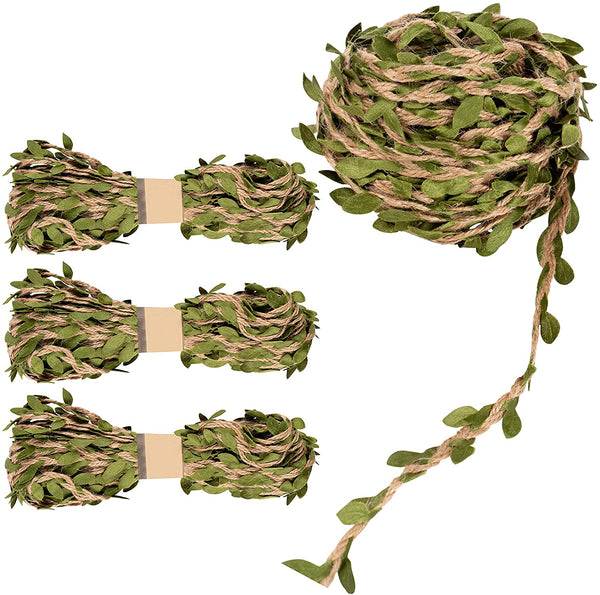 Juvale Jute Burlap Vine Twine with Artificial Leaves Garland for DIY Crafts and Decor (4 Rolls)