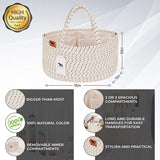 Lu & Ken 3 in 1 Large Diaper Caddy Organizer - Designer Rope Portable Baby Changing Table Organizer - Nursery Storage Basket - Hanging Storage Caddy - Includes Stylish Canvas Bag.
