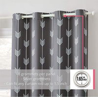 "HLC.ME Arrow Printed Blackout Room Darkening Thermal Grommet Window Curtain Drape Panels for Kids Room - Set of 2 - Grey - 63"" inch Long"
