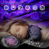 SOAIY Aurora Night Light Projector and Sleeping Soothing White Noise Sound Machine for Baby, Kids, Adults with Bluetooth 4.1, Timer, Remote, 6 Soother Sounds, 7 Lighting Modes for Kids Room