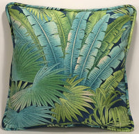 "A set of 2 18"" Handmade Tommy Bahama Fabric Bohemian Breeze Peninsula Blue and Green Decorative Throw Pillows and Forms"