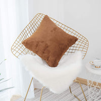 Home Brilliant Plush Fluffy Mongolian Faux Fur Suede European Throw Pillow Sham Large Cushion Cover for Bench, Pillow Not Included, 1 Pc, 26x26 Inches, Brown