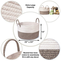 "Luxury Little Nursery Storage Basket, Size XXXL :: 100% Cotton Rope Hamper with Handles :: Sturdy Baby Bin Organizer for Laundry, Toys, Blankets, Pillows & More, 22"" x 22"" x 14"", White/Beige"