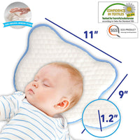 Flat Head Shaping Baby Pillow - 2 Washable Organic Cotton Case for Newborn Infant to Prevent Flathead or Plagiocephaly Syndrome | Soft Memory Foam Pillow 0-12 Months (1 Pillow Cover Bonus)