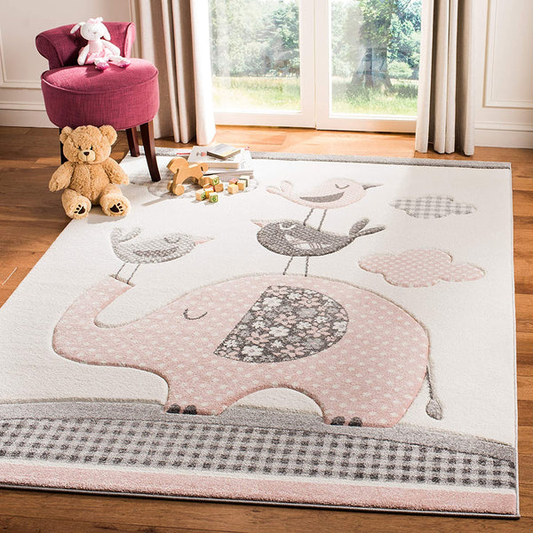 Safavieh Carousel Kids Collection CRK127P Elephant Nursery Playroom Area Rug, 8' x 10', Pink/Ivory