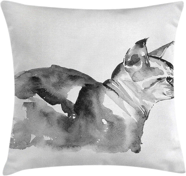 "Ambesonne Modern Throw Pillow Cushion Cover, Cat Portrait in Blurry Watercolor Shady Tones Animal Baby Kitty Picture, Decorative Square Accent Pillow Case, 18"" X 18"", Black White"