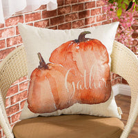 "Fjfz Farmhouse Gather Watercolor Pumpkin Fall Harvest Decor Thanksgiving Day Sign Cotton Linen Home Decorative Throw Pillow Case Cushion Cover Words Sofa Couch, 18"" x 18"""