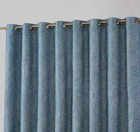 HLC.ME Modena Textured Faux Linen 100% Complete Full Blackout Thermal Insulated Energy Savings Extra Wide Grommet Curtain Panel for Sliding Glass Patio Door (100 x 84 inch Long, Navy Blue)